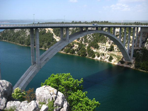 concrete bridge: Skradin bridge over river Krka, Croatia