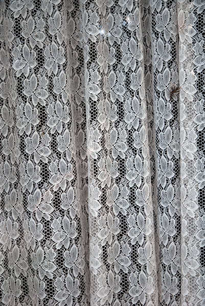 Lace: Lace curtain in a window.