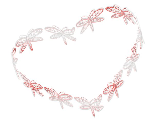 Butterfly Heart 1: A heart shape made of delicate butterflies in a pastel colour. Element, border, texture or frame.
