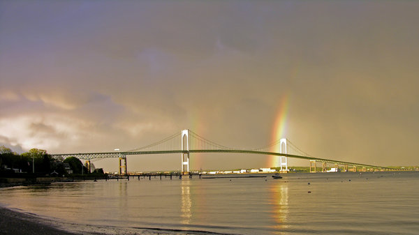 Newport Rainbow: An unusual double rainbow behind the Pell Bridge and Naval War College, Newport, Rhode Island