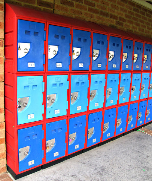 school lockers: brightly coloured secure school lockers for students