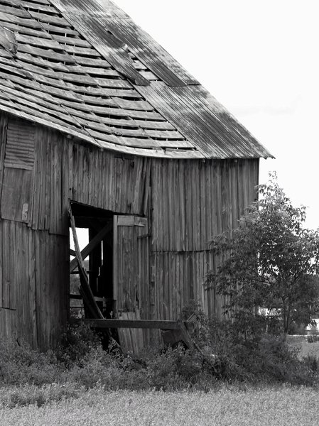 barn B/W: Old crumbling barn