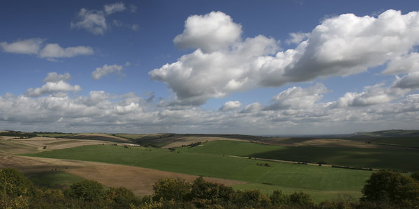 Rolling hills: The rolling hills of the South Downs, West Sussex, England, in early autumn.