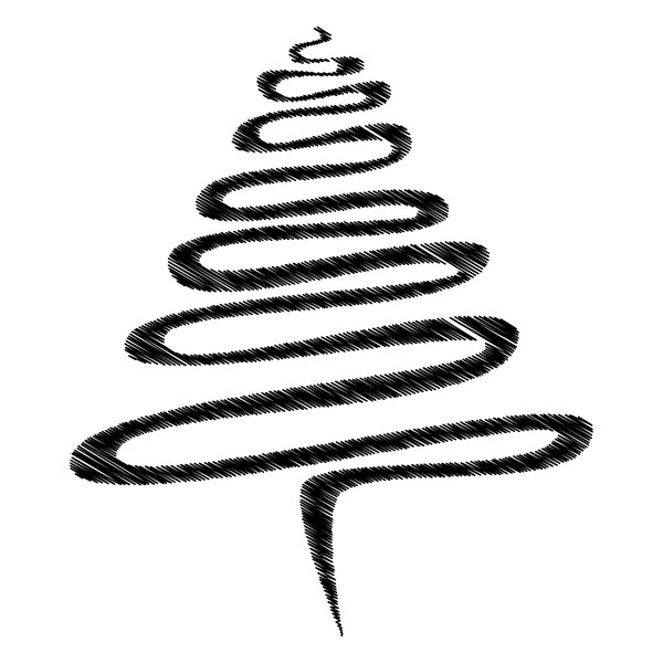 Black Scribble Xmas Tree: Abstract scribble Christmas tree, black over white.