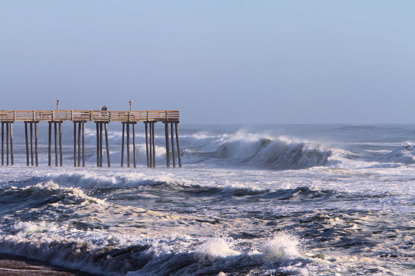 No Fishing Today: The ocean is a little rough for pier fishing after a couple of days of a hurricane passing well offshore.