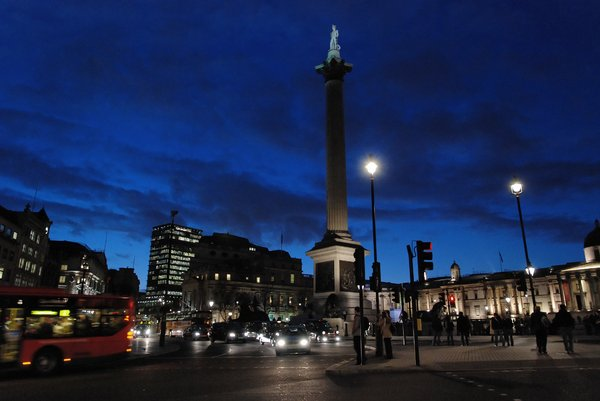 Trafalgar square 1: Evening shot of busy London Square