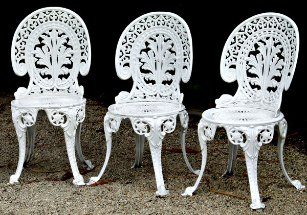 Nice Elegance Not Comfort: White Painted Cast Iron Garden Seats   Chairs Part 16
