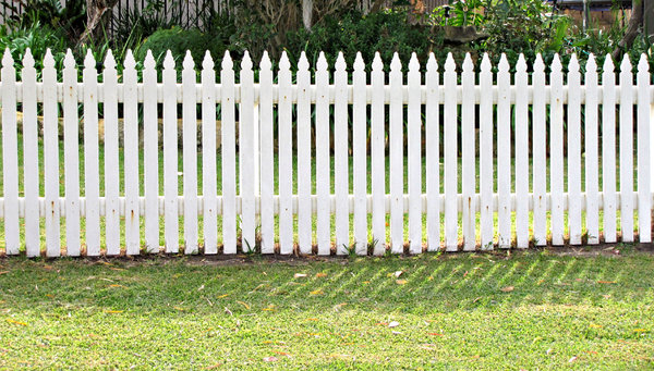 white picket fence: wooden white picket fence