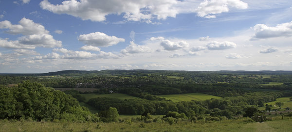 North Downs: A panorama looking south from the North Downs, Surrey, England.