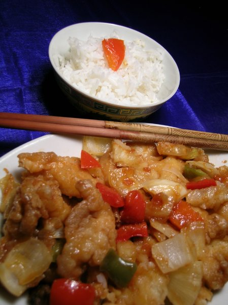 Sweet & Sour chicken: Sweet & Sour chicken and steamed rice