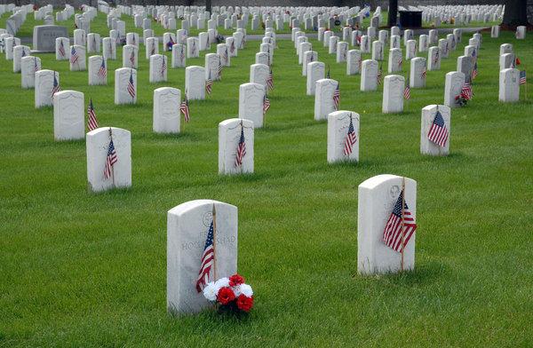 Memorial Day: Memorial Day in a veteran's cemetery.