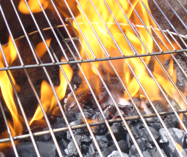 soon b cookin: BBQ charcoals heating up