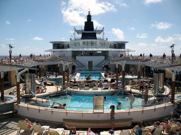 Cruise Ship Pool: The pool area on a cruise ship.