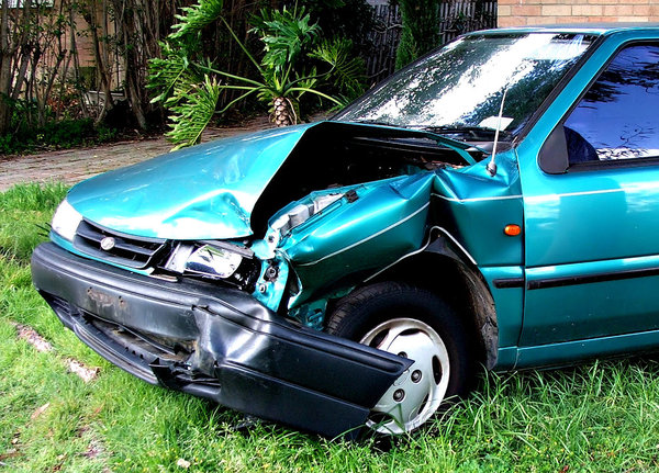 smashed: damaged motor vehicle taken off the road following a car crash