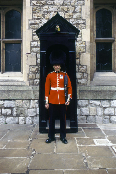 Queen's Guard: The Queen's Guard at Buckingham Palace.