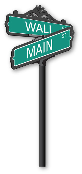 Main Street Vs. Wall Street: Illustrated street sign where Main Street and Wall Street Meet. Contact me for Vector artwork.