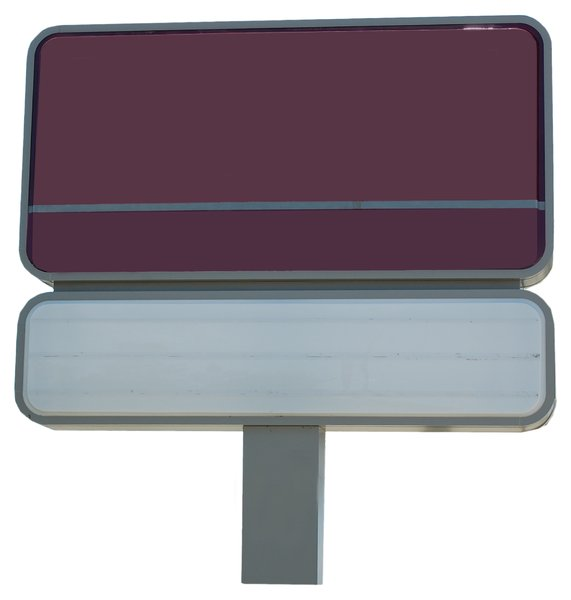 3 panel rectangular, 1 post: free-standing sign used to convey advertising and information.