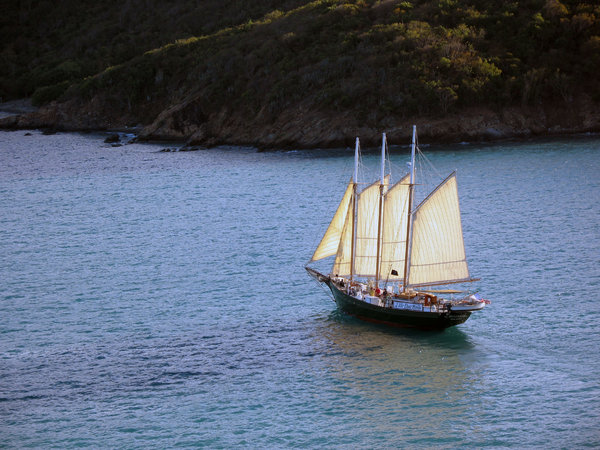 Schooner: A schooner in the Caribbean.
