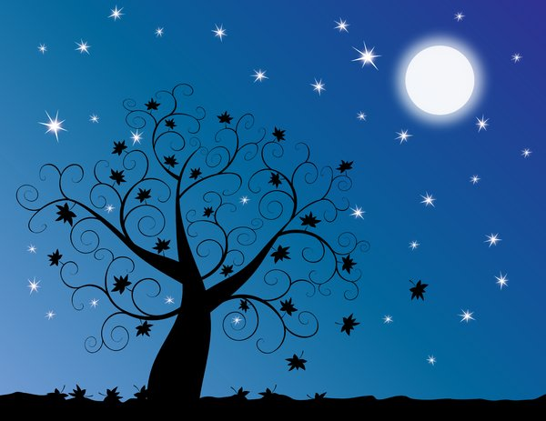 Moonlit Tree: Abstract swirly tree at twilight with starry blue background.