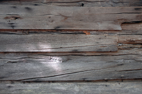 Log Cabin: The wall of a log cabin.