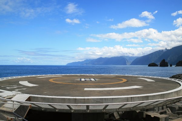 Helipad: A concrete helipad (helicopter landing pad) on the coast of Madeira.