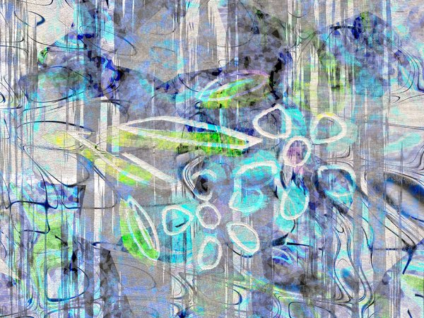 Floral Abstract Grunge: Grungy abstract flowers in blue tones. Complex image, suitable for textures, fills, and covers.