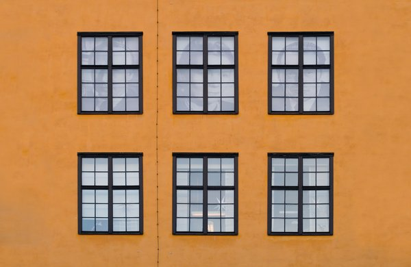 Six windows: Six large windows on an old industry building in Norrkoping, Sweden.