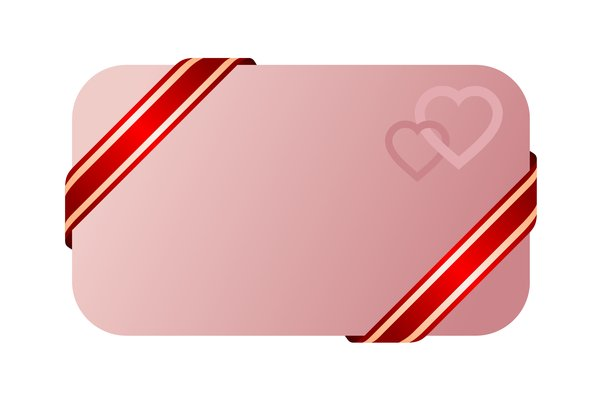 Card: Piece of paper with a ribbon on a solid background