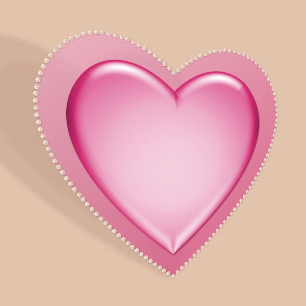 Pastel Valentine 1: Pastel pink decorative heart set at an angle, with a pearl border against a neutral background. Suitable for Valentine's Day, Birthday, Anniversary, Mother's Day or even a wedding.