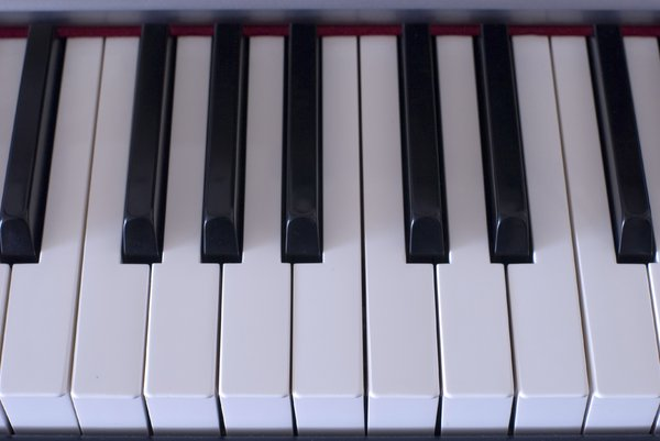 Piano Keys: close up on a piano keyboard