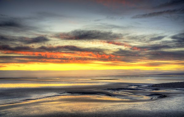 shades of the evening sun: morecambe bay just after the sun went down,with a slight hdr look,made of 3 images
