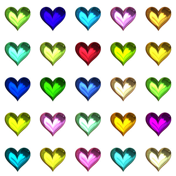 Lots of Hearts 11: Metallic or glass hearts in a geometric pattern, suitable for a texture, background, backdrop or fill, a birthday card or wrapping, anniversary, wedding, or valentine.