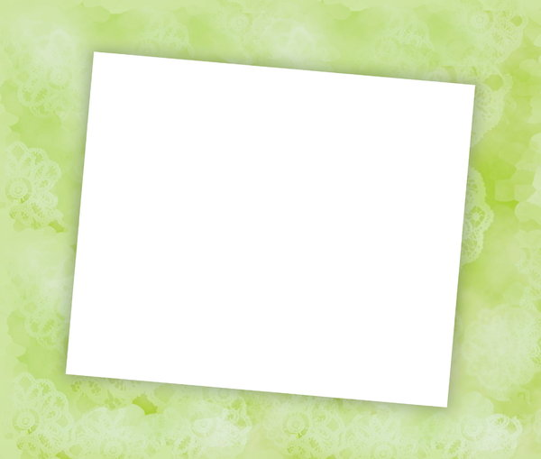 You're invited 4: Blank notecard in green pastel shades suitable for an invitation, banner, birthday, congratulations - many uses. White blank area against a textured pastel background.