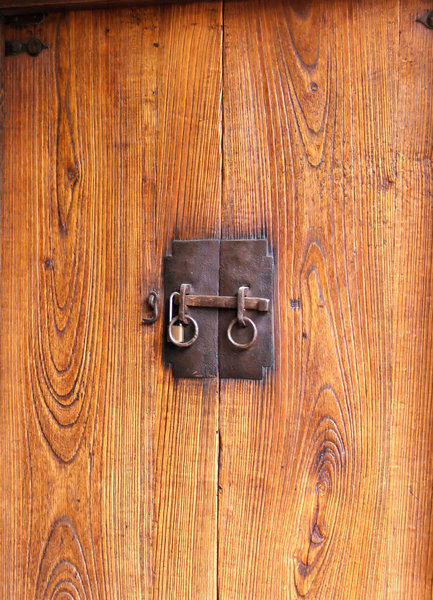 locked doors: old wooden doors