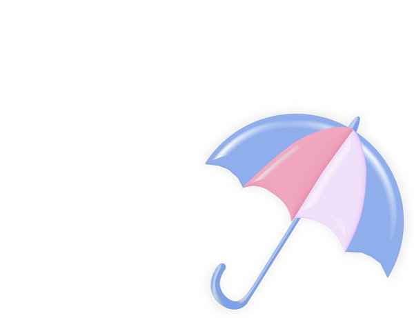Summer Shade 1: Bright, summery umbrella or parasol with plenty of copyspace. Blue and pink.