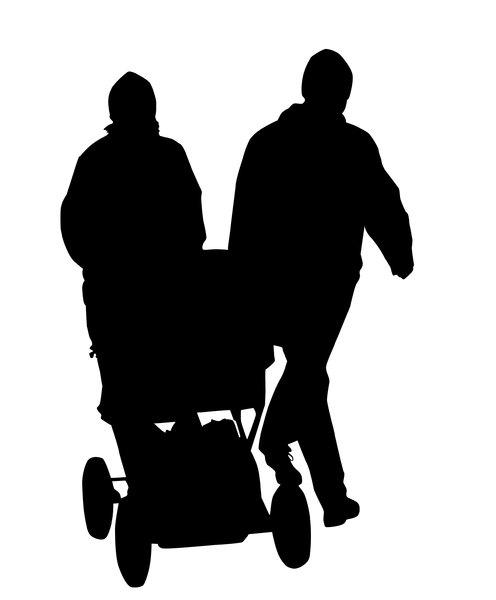 Couple with the child: A silhouette portreting a couple with a child in a