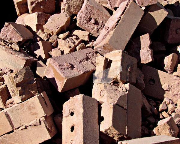 builders rubble: old used bricks, mortar rubble
