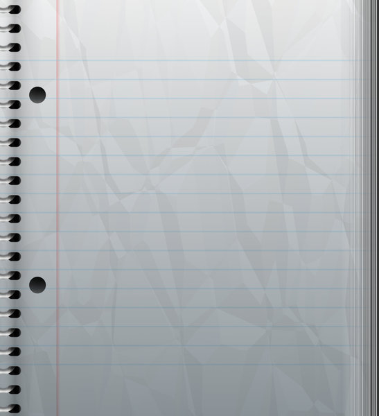 Crumpled Notebook With Lines: A section of a spiral bound notebook, with blue lines and a red margin at the side. Holes punched out. Page is crumpled. Very useful paper background.