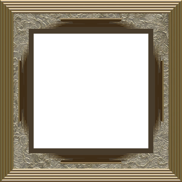 Ornate Square Frame 3: An elegant, ornate frame with inlaid panels in a bronze or pewter colour with silver inlays.