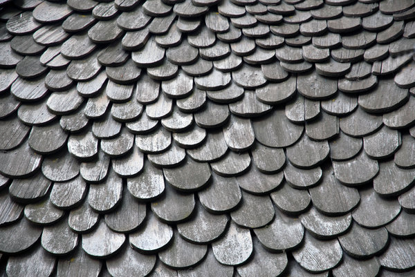 Wood Shingles: Wood shingles on a house.