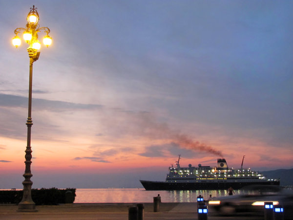 evening at trieste: steamship arriving