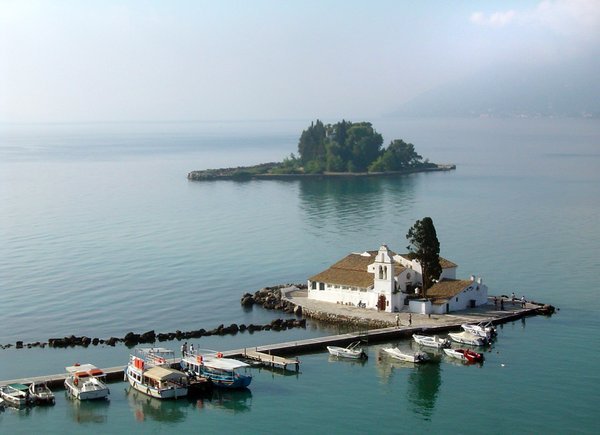 Corfu - Vlacherna Monastery: View on Vlacherna monastery and the so-called
