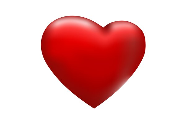 Red Heart: Red heart on white background