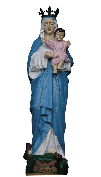 Saint Maria: A sculpture. Saint Maria, called the Queen of Poland, with baby Jesus in her hands.