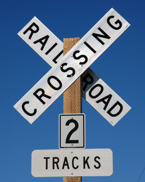 Train Crossing Sign: Train crossing sign.