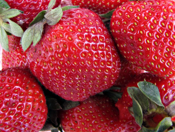 strawberry red: a punnet of ripe strawberries