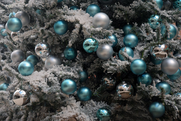 Christmas Ornaments: Ornaments on a Christmas tree.