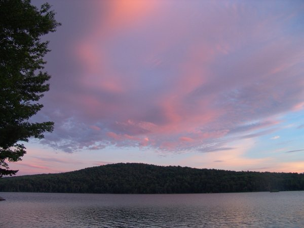 Twilight on the Lake: Deep Rose color sky at twilight on a lake in New Hampshire.
