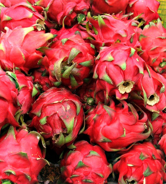dragon fruit: dragon fruit on market fruit stall table