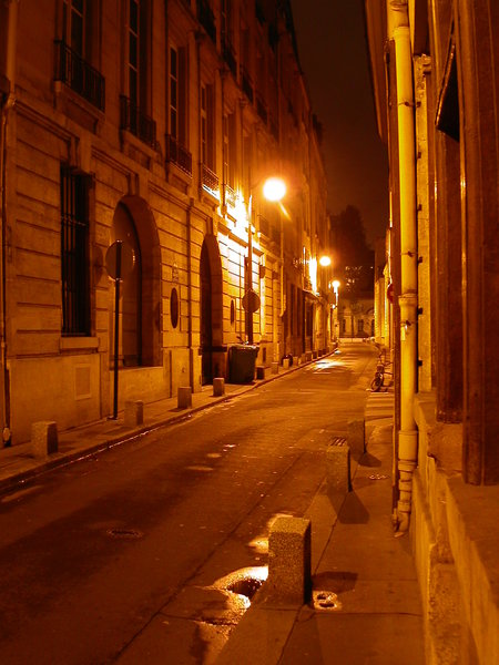 quartier latin by night: paris, quartier latin by night. nobody in the street, silent atmosphere